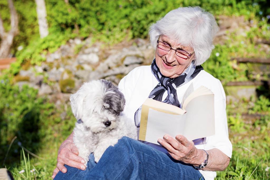 pies dla starszej osoby relaks